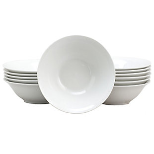 Gibson Home Noble Court 7 Inch Fine Ceramic Bowls in White 12 Piece Set, , large