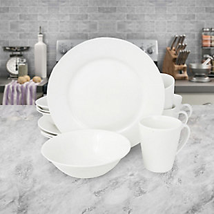 Gibson Home Noble Court 12 Piece Dinnerware Set in White, , rollover