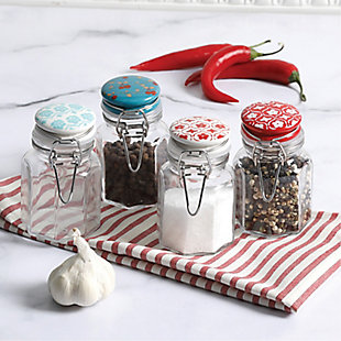 General Store Cottage Chic 4 Piece 3.38 oz Mini Glass Storage Jar Set with Wire Clamp Closure, , rollover