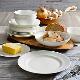 Gibson Elite Gracious Dining 16pc Bone China Double Bowl Dinnerware Set in White, , rollover