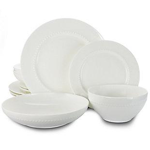 Gibson Elite Gracious Dining 16pc Bone China Double Bowl Dinnerware Set in White, , large