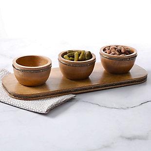 Gibson Elite Pinehurst 3 Piece Wood Condiment Bowl and Tray Set with Metallic Brass Trim, , rollover