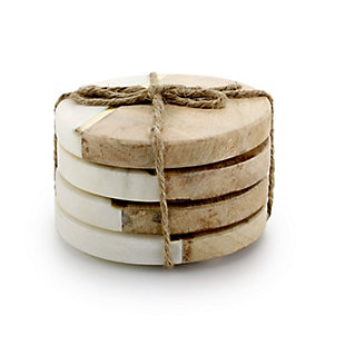 Gibson Elite Pinehurst 4 Piece 4 Inch Inlaid Marble and Wood Coaster in Beige, , large