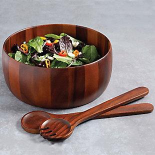 Gibson Elite Elite Chestnut 3-Piece Salad Bowl with Servers Set, Wood, , rollover
