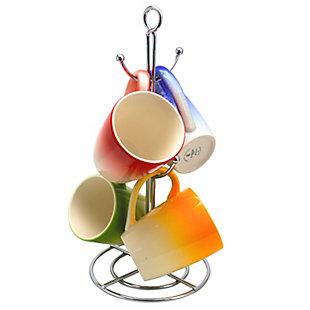 Gibson Home Color Gloss 4 Piece 12 oz. Mug  with Metal Stand, , large