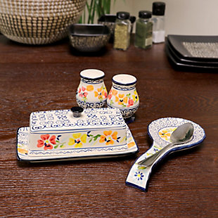 Gibson Elite Luxembourg 4 Piece Hand Painted Stoneware Serving Set, , rollover