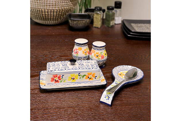 Gibson Elite Luxembourg 4 Piece Hand Painted Stoneware Serving Set, , large