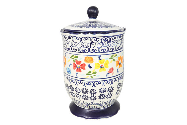 Gibson Elite Luxembourg 2.72 Qt Stoneware Canister with Lid, Hand Painted, , large