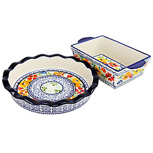 Gibson Elite Luxembourg 10.5 inch Pie Dish and 10 inch Bakeware set in stoneware, , large