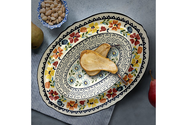 Gibson Elite Luxembourg 17.5 Inch Oval Stoneware Serving Platter, , large