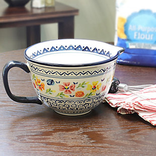 Gibson Elite Luxembourg 2 Quart Stoneware Batter Bowl, Hand Painted, , rollover