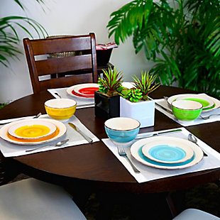Gibson Home Confetti Band 12 Piece Mix and Match Round Ceramic Dinnerware Set in Assorted Colors, , rollover