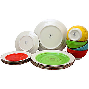 Gibson Home Confetti Band 12 Piece Mix and Match Round Ceramic Dinnerware Set in Assorted Colors, , large