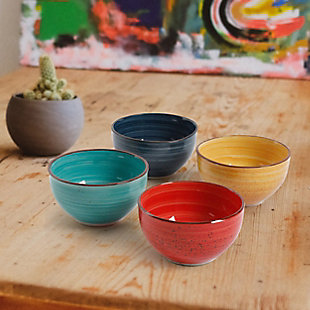 """Gibson Home Color Speckle 4 pc 5.25"""" Cereal Bowl Set, , rollover"""