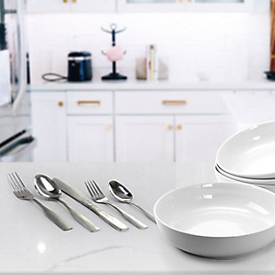 Gibson Home Abbeville 61 Piece Stainless Steel Flatware Set with Wire Caddy, , rollover