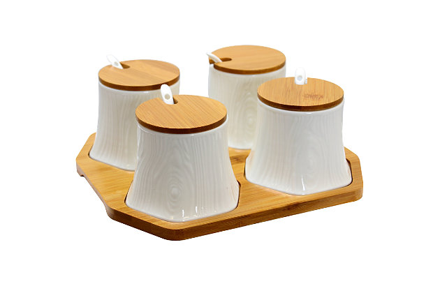 Elama Elama Ceramic Spice, Jam and Salsa Jars with Bamboo Lids and Serving Spoons, , large
