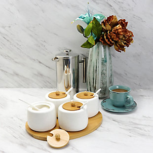Elama Elama Ceramic Spice, Jam and Salsa Jars with Bamboo Lids and Serving Spoons, , rollover