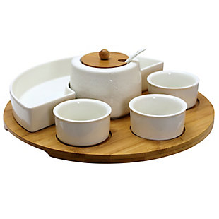 Elama 8 Piece Appetizer Serving Set with 4 Serving Dishes, Center Condiment Server, Spoon, and Bamboo Serving Tray, , large