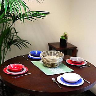 Studio California Mauna 12 Piece Assorted Colors Melamine Dinnerware Set, , rollover
