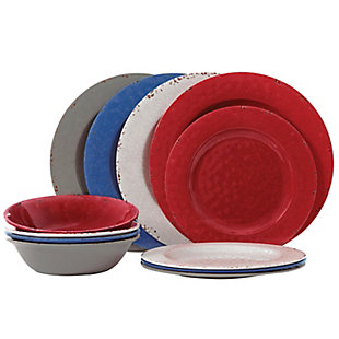 Studio California Mauna 12 Piece Assorted Colors Melamine Dinnerware Set, , large