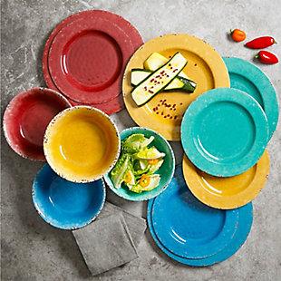 Studio California Mauna 12 Piece Assorted Crackle Decal Melamine Dinnerware Set, , rollover