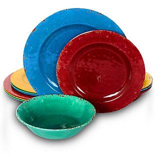 Studio California Mauna 12 Piece Assorted Crackle Decal Melamine Dinnerware Set, , large