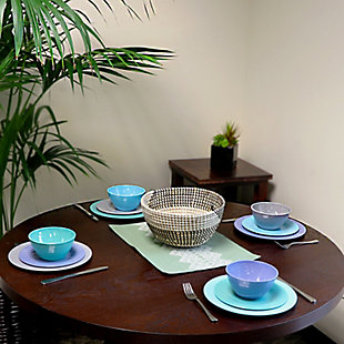 Gibson Home Brist 12 Piece Dinnerware Set in 4 Assorted Colors, , rollover