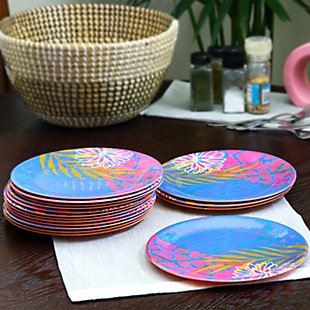 """Gibson Home Psycho-Tropical 4 pc 9"""" Dessert Plate Set Decorated Melamine set of 4, , rollover"""