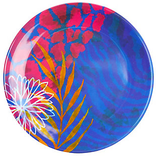 """Gibson Home Psycho-Tropical 4 pc 9"""" Dessert Plate Set Decorated Melamine set of 4, , large"""