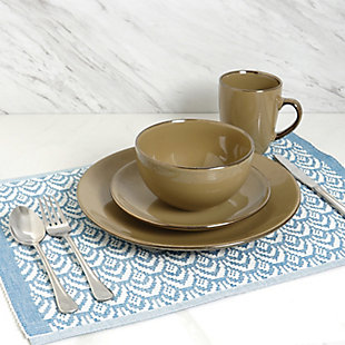 Elama Elama Bristol Grand 16-Piece Dinnerware Set, Warm Taupe, , rollover