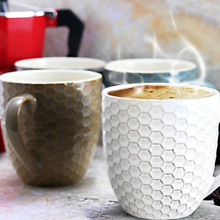 Elama Elama Honey Bee 6-Piece 15 oz. Mug Set, Assorted Colors, Blue/White/Yellow, rollover