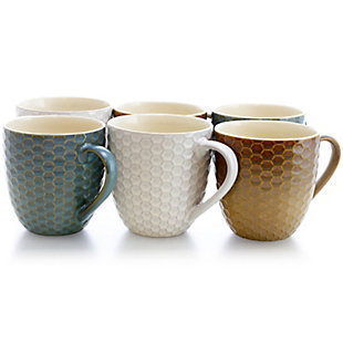 Elama Elama Honey Bee 6-Piece 15 oz. Mug Set, Assorted Colors, Blue/White/Yellow, large