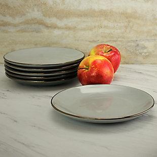 Elama Elama Tahitian Sand 6-Piece Salad Plate Set, Light Gray, , rollover