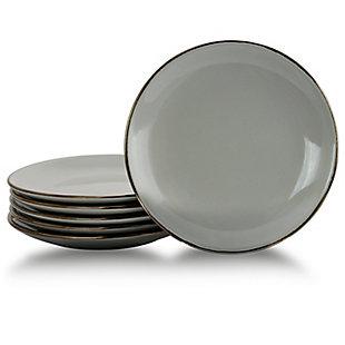 Elama Elama Tahitian Sand 6-Piece Salad Plate Set, Light Gray, , large