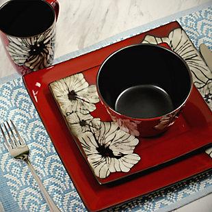 Elama Elama Winter Bloom 16 Piece Square Stoneware Dinnerware Set, , rollover