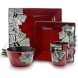 Elama Elama Winter Bloom 16 Piece Square Stoneware Dinnerware Set, , large