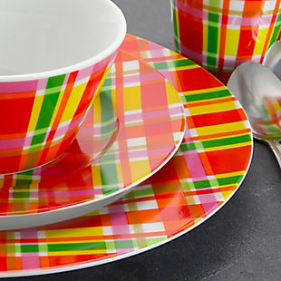 Oui By French Bull Multicolor Plaid 16 Piece Round Porcelain Dinnerware Set, , rollover
