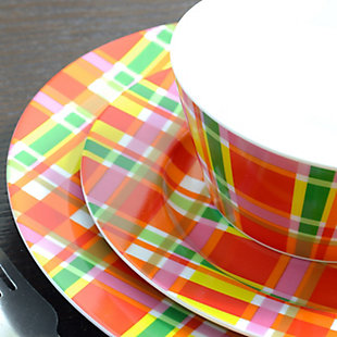Oui By French Bull Multicolor Plaid 16 Piece Round Porcelain Dinnerware Set, , large