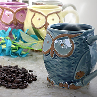 Gibson Nocturnal Gaze 4 Piece 18 Ounce Stoneware Owl Mug Set in Assorted Colors, , rollover