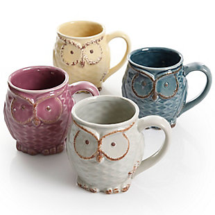 Gibson Nocturnal Gaze 4 Piece 18 Ounce Stoneware Owl Mug Set in Assorted Colors, , large