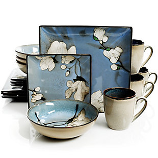 Gibson Elite Bloomington 16 Piece Stoneware Square Dinnerware Set in Blue Floral, , large
