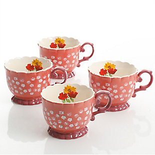 Urban Market Life on the Farm 4 Piece 20 Ounce Durastone Footed Cup Floral Set in Red, , large