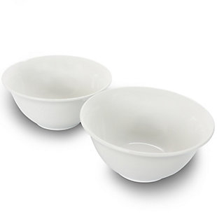 Gibson Home 2 Piece 7.5 Inch Ceramic All-Purpose Round Bowl Set in White, , large