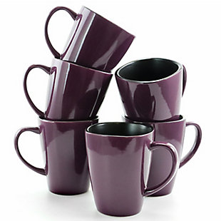 Elama Elama Mulberry 14 oz Stoneware Mugs in Purple, Set of 6, , large