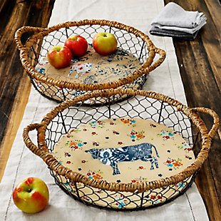 Urban Market Life on the Farm 2 Piece 14.5 in. Sheep Wire Basket Set, , rollover