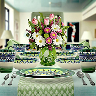 Elama Elama Zen Green Mozaik 16 Piece Luxurious Stoneware Dinnerware with Complete Setting for 4, 16pc, Green, rollover