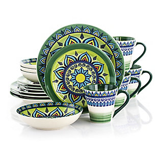 Elama Elama Zen Green Mozaik 16 Piece Luxurious Stoneware Dinnerware with Complete Setting for 4, 16pc, Green, large