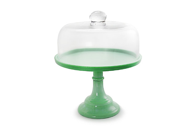 Gibson 10 Inch Cake Stand with Glass Dome in Green, , large