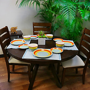 Gibson Home 12 Piece Stoneware Dinnerware Set in Rainbow Swirl, , rollover