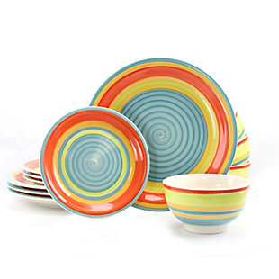 Gibson Home 12 Piece Stoneware Dinnerware Set in Rainbow Swirl, , large
